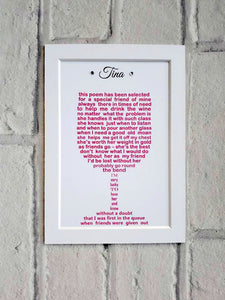 Friend Gift - Unframed Personalised Print