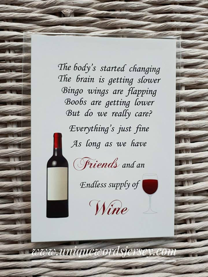 Friend Gift - Unframed wine Print 7x5