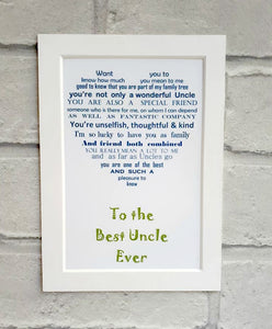 Uncle gift - 7x5 Unframed Print