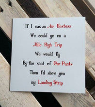 Funny card for him  - Air Hostess