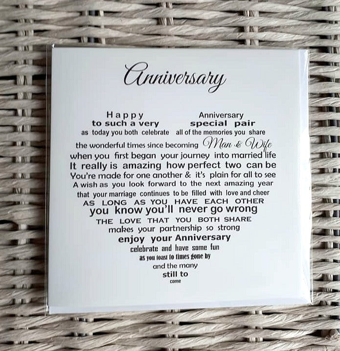 Anniversary Card - Suitable for any wedding anniversary