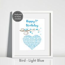 First Birthday Baby Boy Gift - Unframed Personalised Print