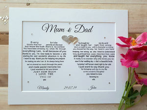 Wedding Gift for Parents of the Bride - Unframed Personalised Print