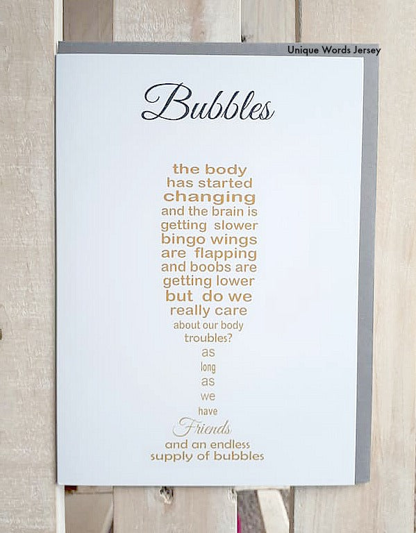 Friend Bubbles Card - Friend Prosecco or Champagne Glass Card - Printed by Thortful