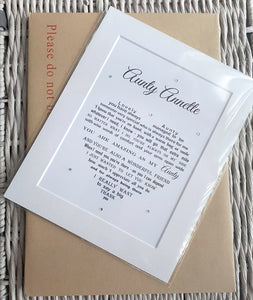 Auntie Gift - Unframed Personalised Print