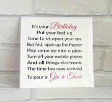 Gin & Tonic Birthday card for a special friend