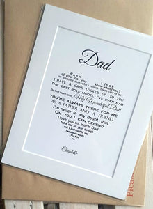 Dad Gift - Unframed Personalised Print