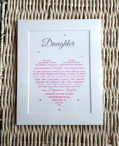 Daughter Gift - Unframed Personalised Print