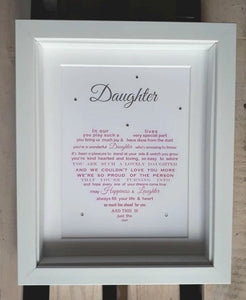 Daughter Gift - Framed Personalised Print (JERSEY only)