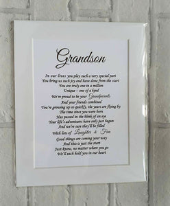 Grandson Gift   - Unframed Personalised Print