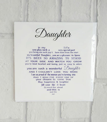 Daughter card - Beautiful words for your Daughter