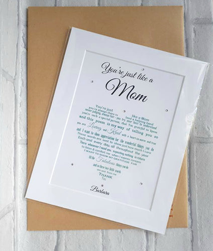Stepmum, Just like a Mum - Unframed Personalised Print