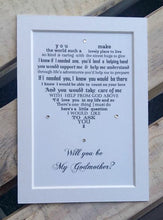 Will you be my Godmother unframed 7x5 mounted print