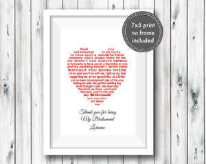 Bridesmaid gift - Thank you gift for a wonderful Bridesmaid