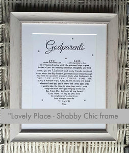 Godparents Gift - Framed Personalised Print (JERSEY only)