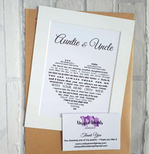 Auntie & Uncle Gift - Unframed Personalised Print