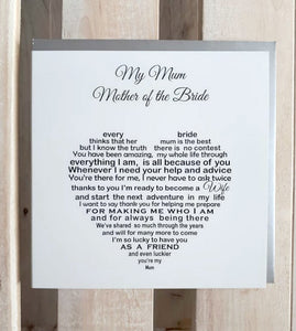 Mother of the Bride card - special words for your mum