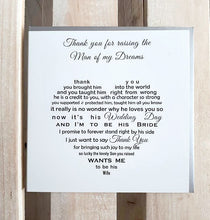 Mother of the Groom card - special words for your new mother in law