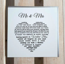 Mr & Mrs - A unique Wedding Card for the Bride and Groom