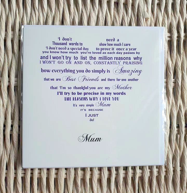 Mum card- Unique card for mum entitled