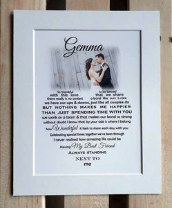 Husband Gift  - Wife Gift -  Framed Personalised Print with Photo