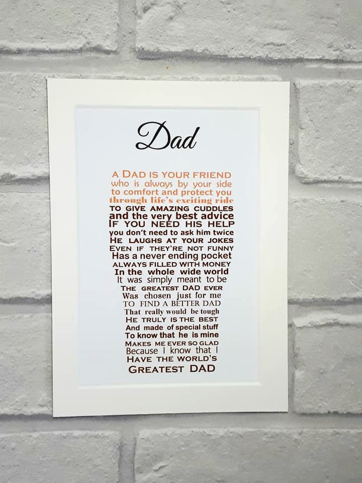 Dad gift - Pint shaped poem for Father's Day