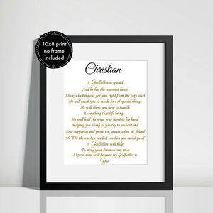 Godfather Gift  - Unframed Personalised Print