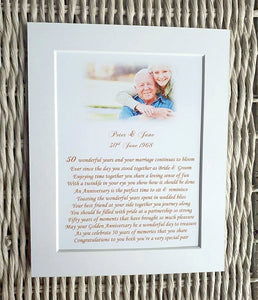 Grandparents Golden Wedding Anniversary Gift - Personalised Unframed Print