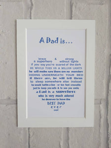 Dad Gift - Superhero Poem - Unframed 7x5