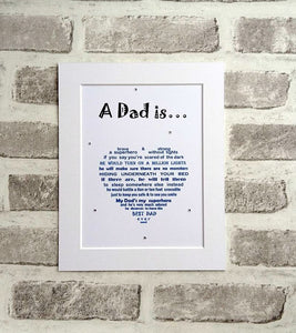 Dad Gift - Unframed Personalised Print for Superhero Dad