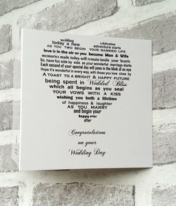 Wedding card for the happy couple