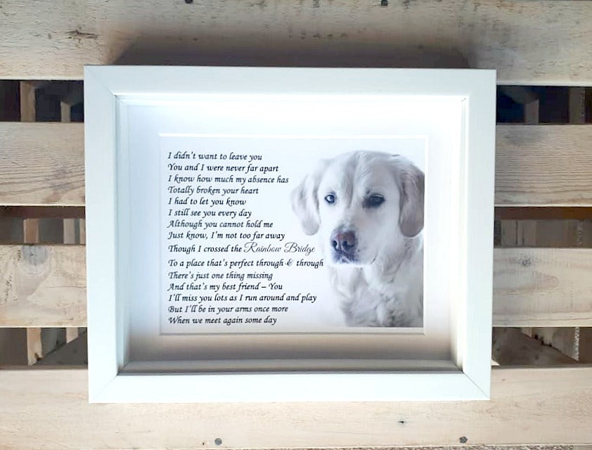 Pet Loss Sympathy Keepsake - Framed Personalised Print (Jersey only)