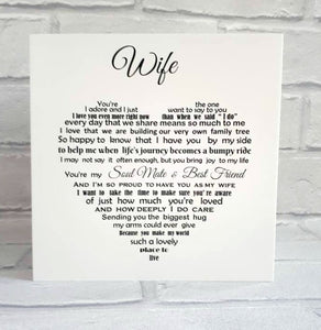 Wife card for birthday, anniversary or Christmas