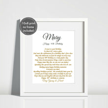 90th Birthday Gift for her - Unframed Personalised Print