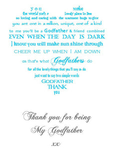 Thank you Godfather unframed 7x5 mounted print