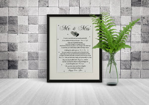 Mr & Mrs - Wedding Gift for Bride and Groom