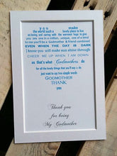 Thank You Godmother Gift unframed 7x5 mounted print