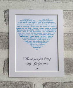 Thank you gift for Godparents unframed 7x5 mounted print