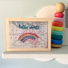 Hello world map wooden postcard