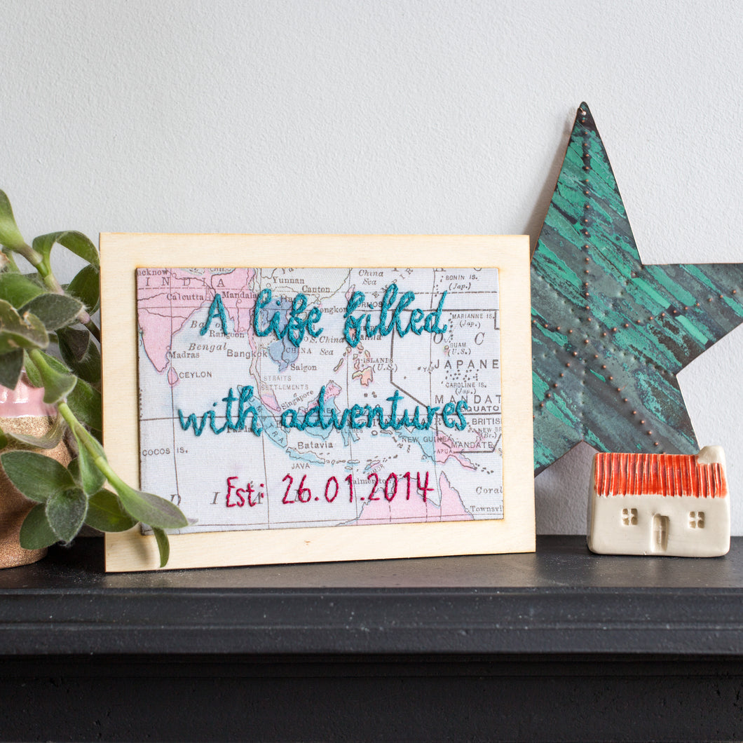 'A life filled with adventures' world map wooden postcard