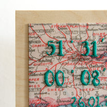 Personalised co-ordinates map postcard