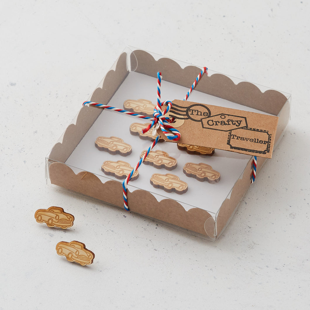 Wooden car pins/magnets