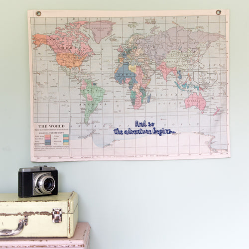 Personalised vintage world hanging map