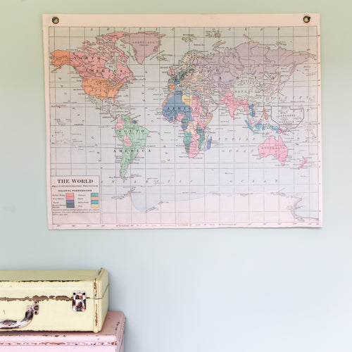 Plain vintage world hanging map