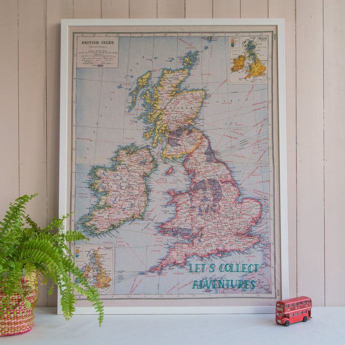 Personalised Uk embroidered map