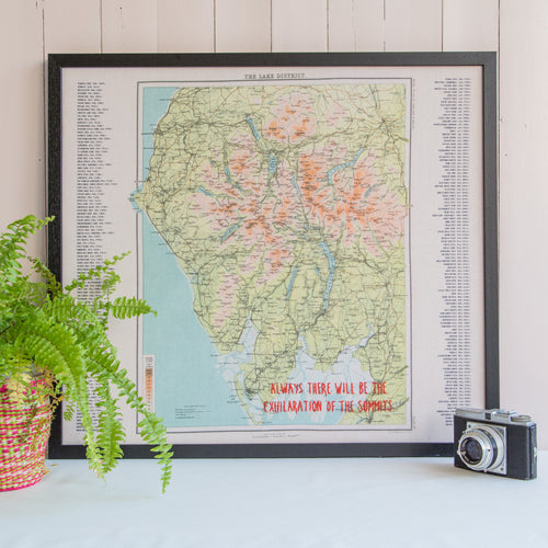 Personalised Wainwright map of the Lake District
