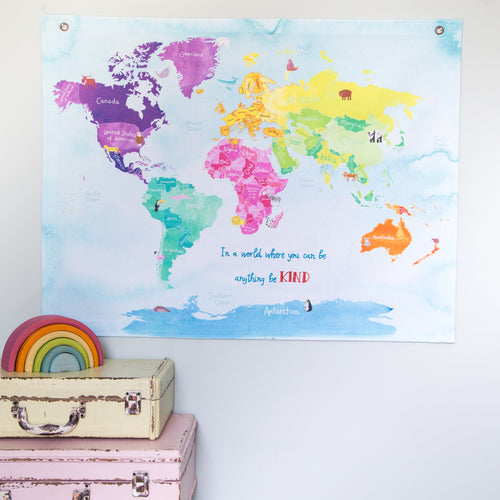 In a world where you can be anything be kind childrens animal hanging map