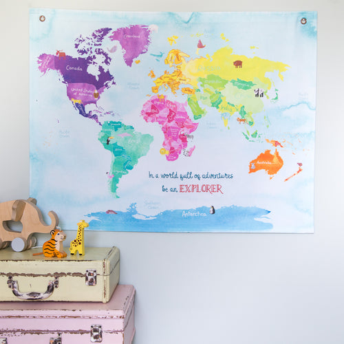 'In a world full of adventures be an explorer' childrens animal hanging map