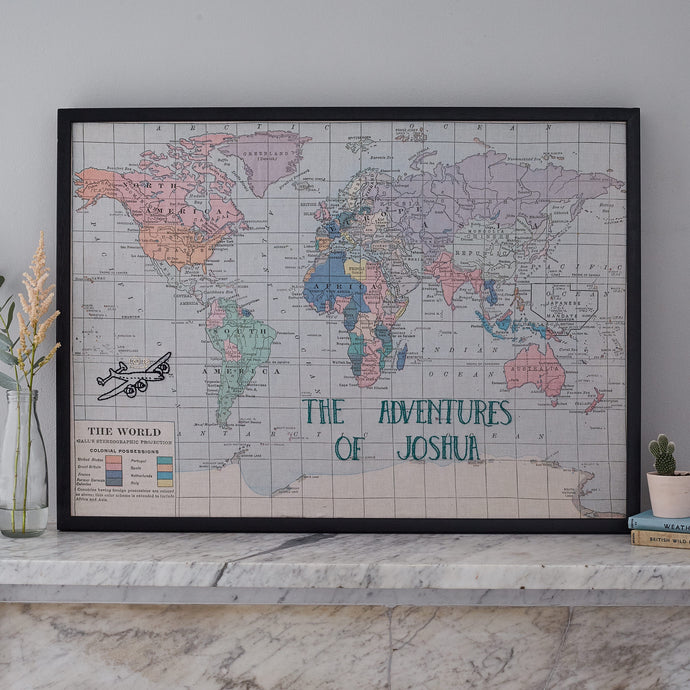 Personalised embroidered world map