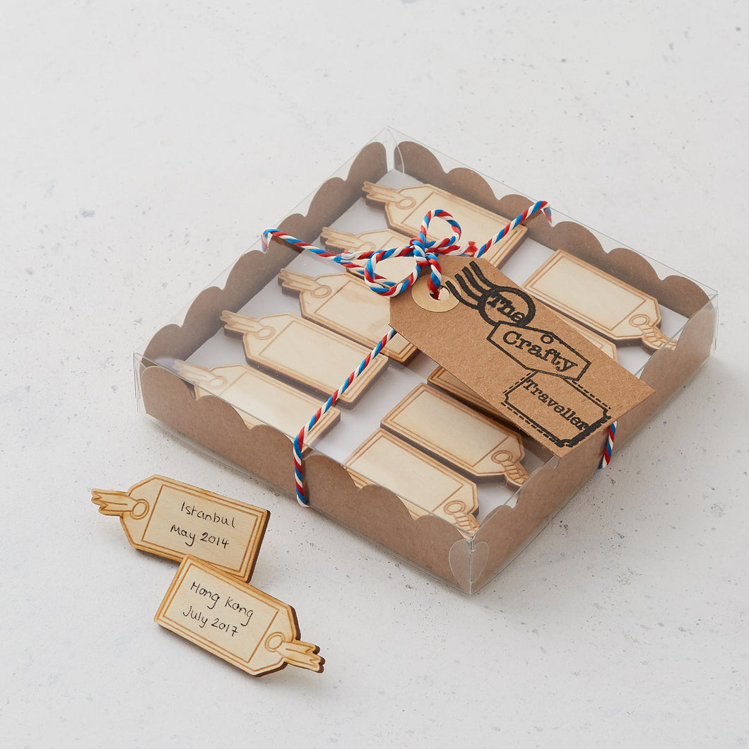 Writable wooden luggage tag pins/magnets